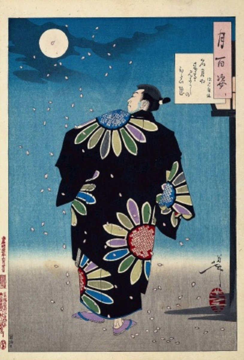 """Ukiyo-e print by Yoshitoshi from his """"One Hundred Aspects of the Moon"""" series depicting cherry blossom petals falling on an actor playing the part of the Otokodate (a fictional """"Japanese Robin Hood"""") Fukami Jikyu underneath the spring moonlight."""