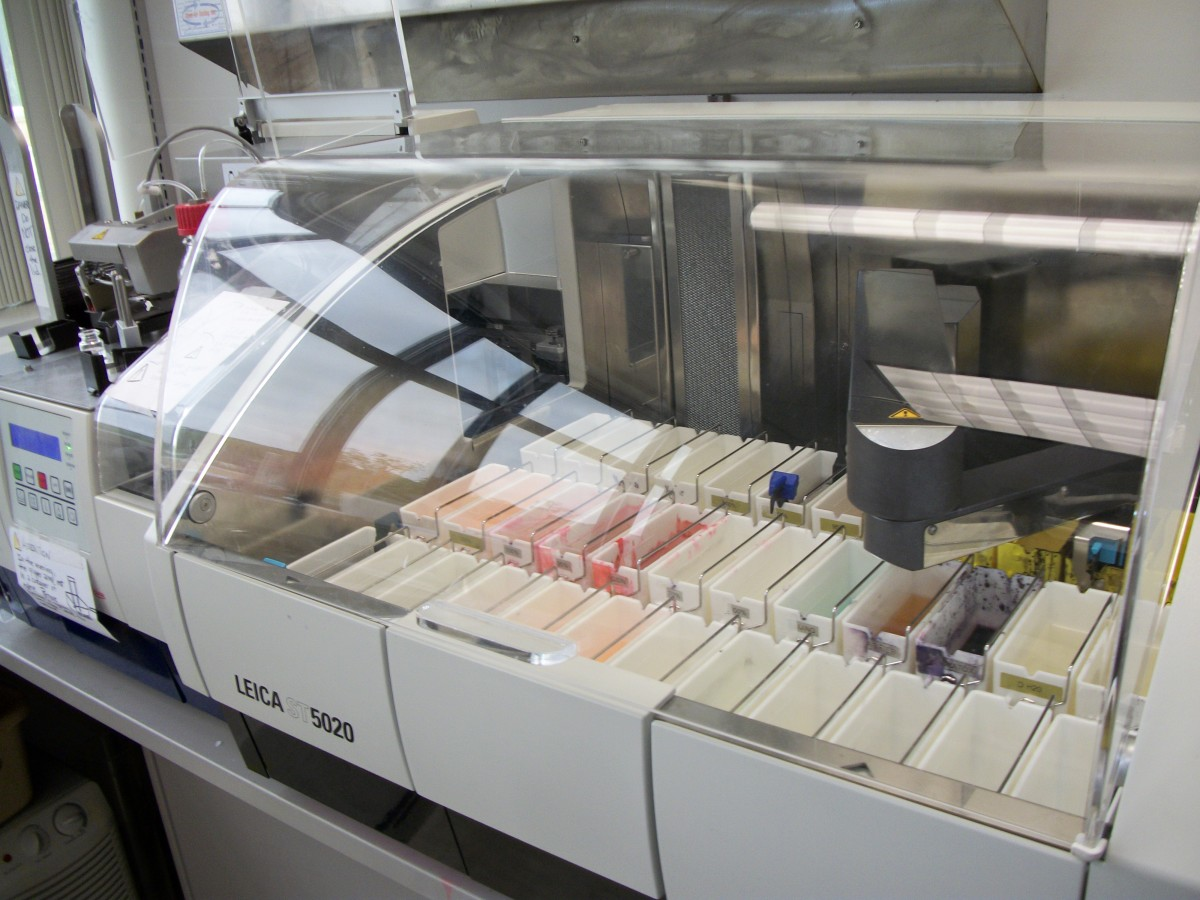 a robotic arm moves slides through the various reagents on this automatic tissue stainer
