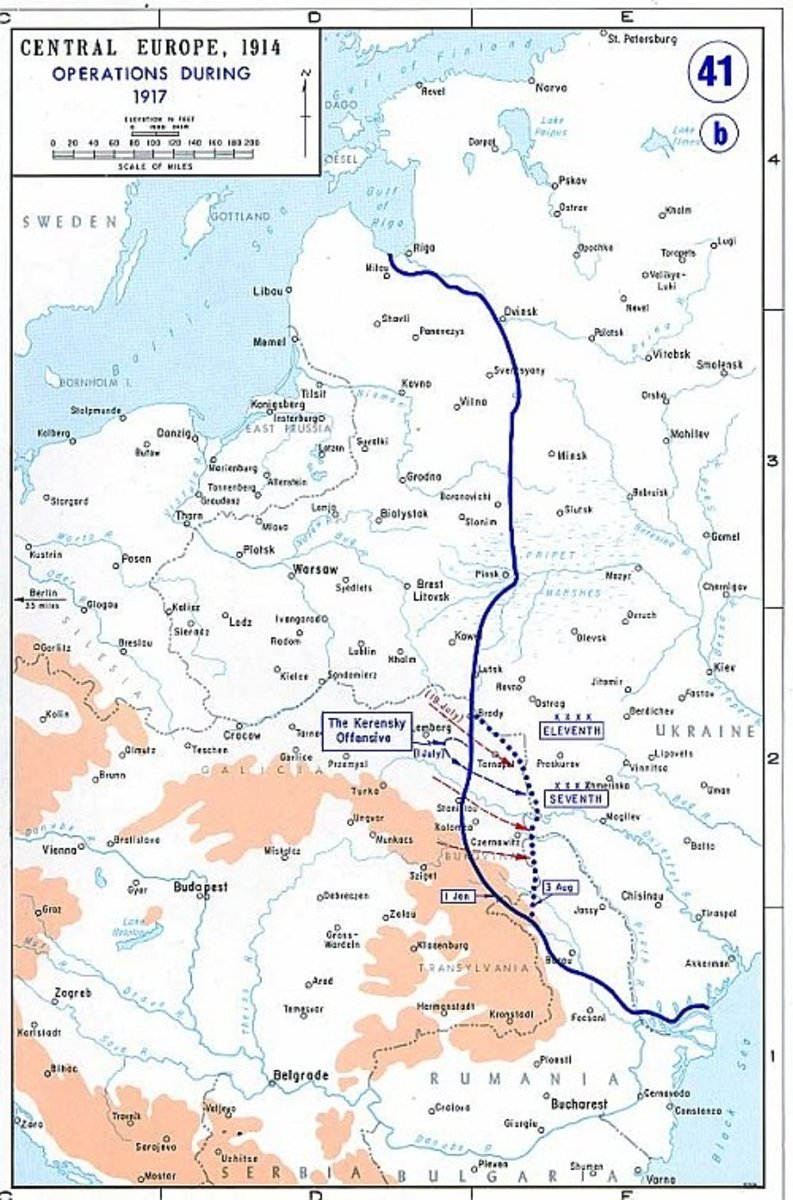WW1: Map of the Eastern Front as of 1917.