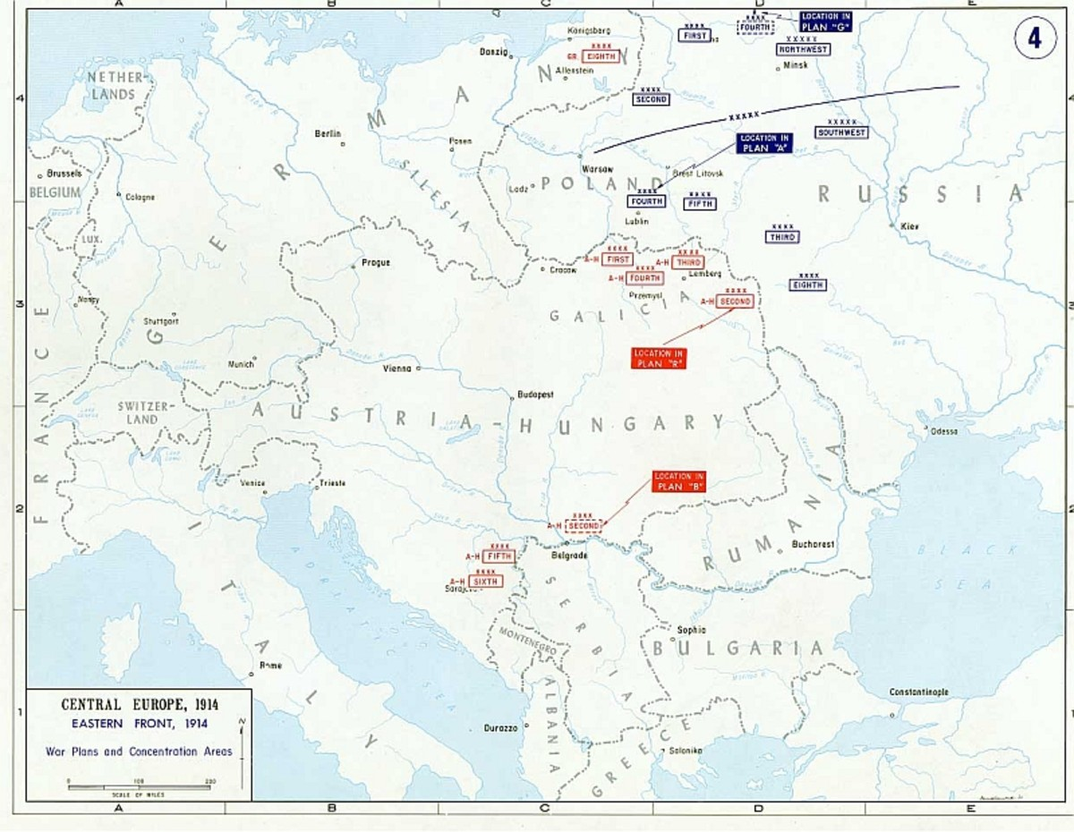Map of the Eastern Front in World War 1, 1914.