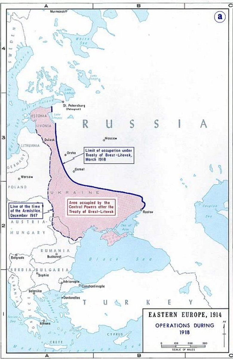 WW1: Map of Territory given away after Brest-Litovsk