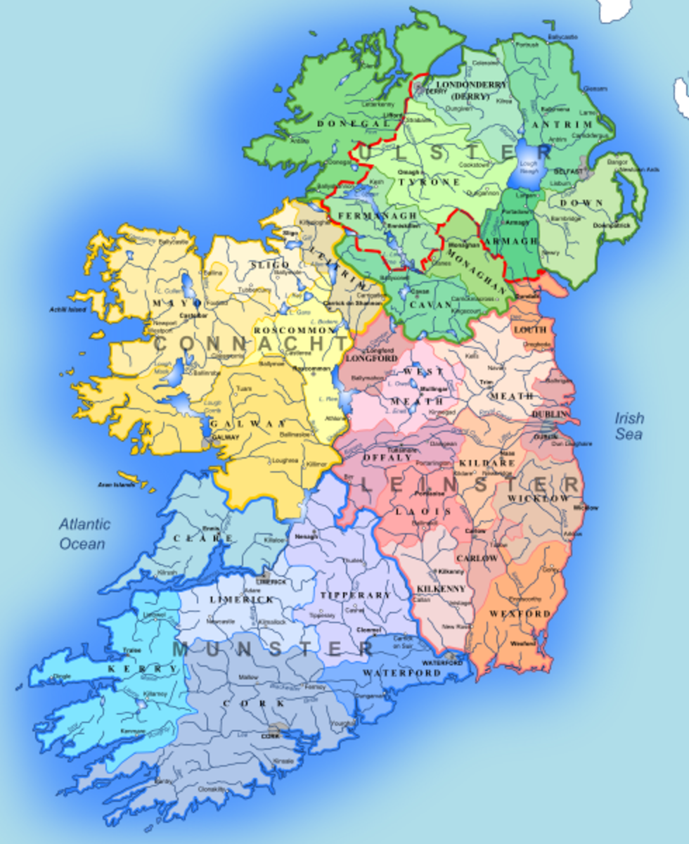 26 counties in Republic of Ireland and 6 counties in Northern Ireland.