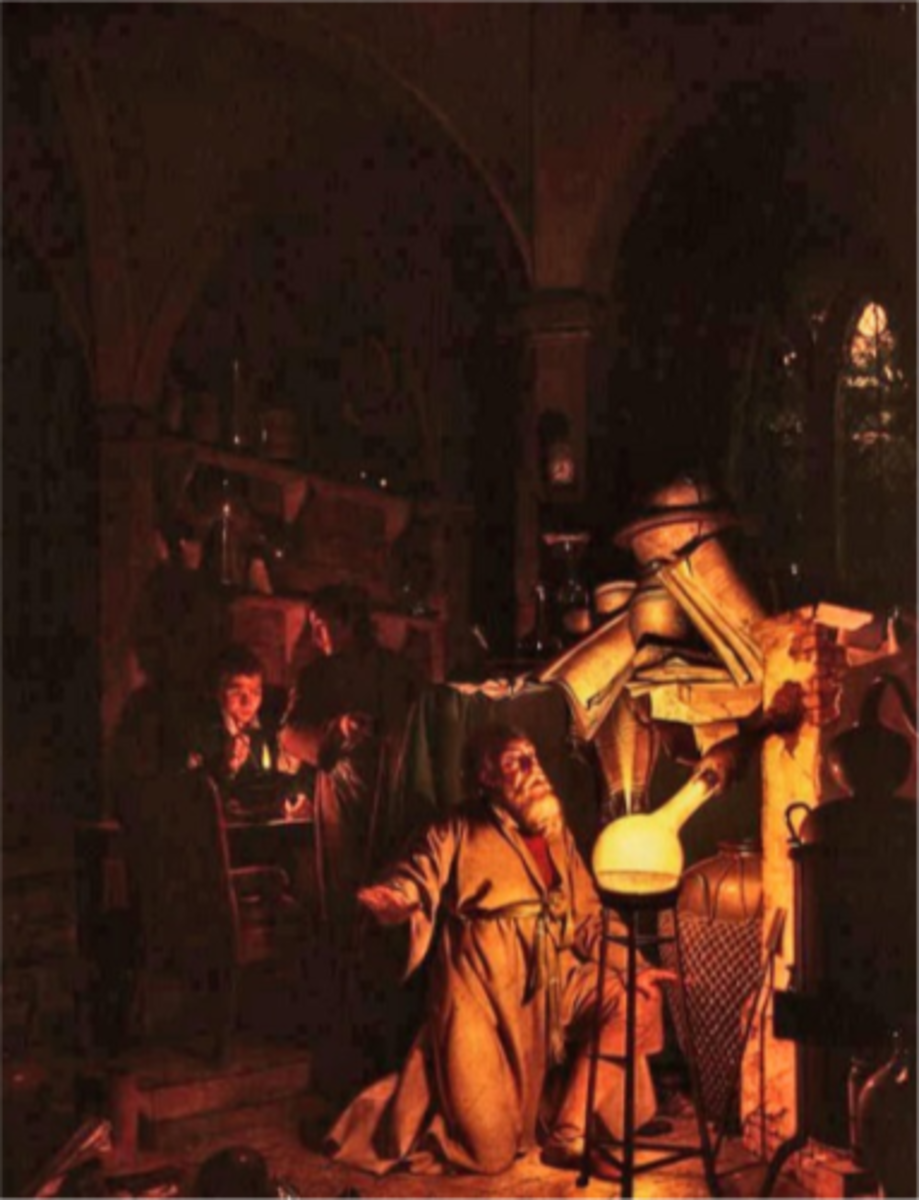Alchemist discovering Phosphorus, 1771, by Joseph Wright