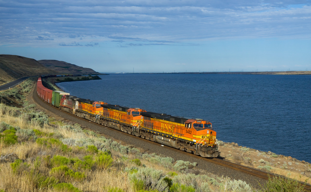 Segmented freight trains look like caterpillars, especially winding through mountains or along a coastline.