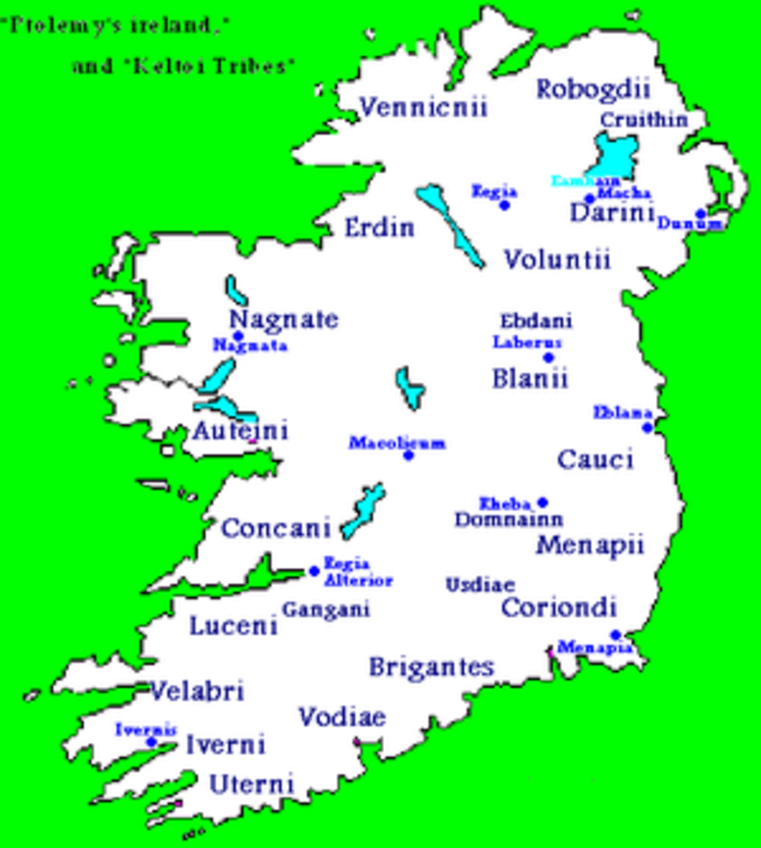 Celtic tribes taken from Ptolemy's Map of Ireland.