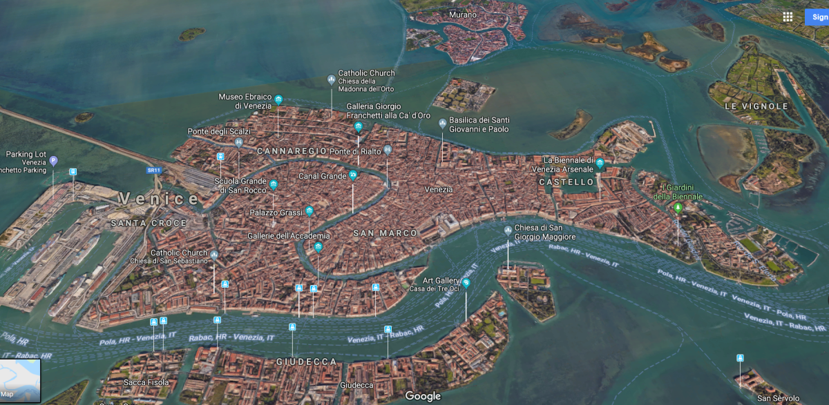 Satellite map of Venice