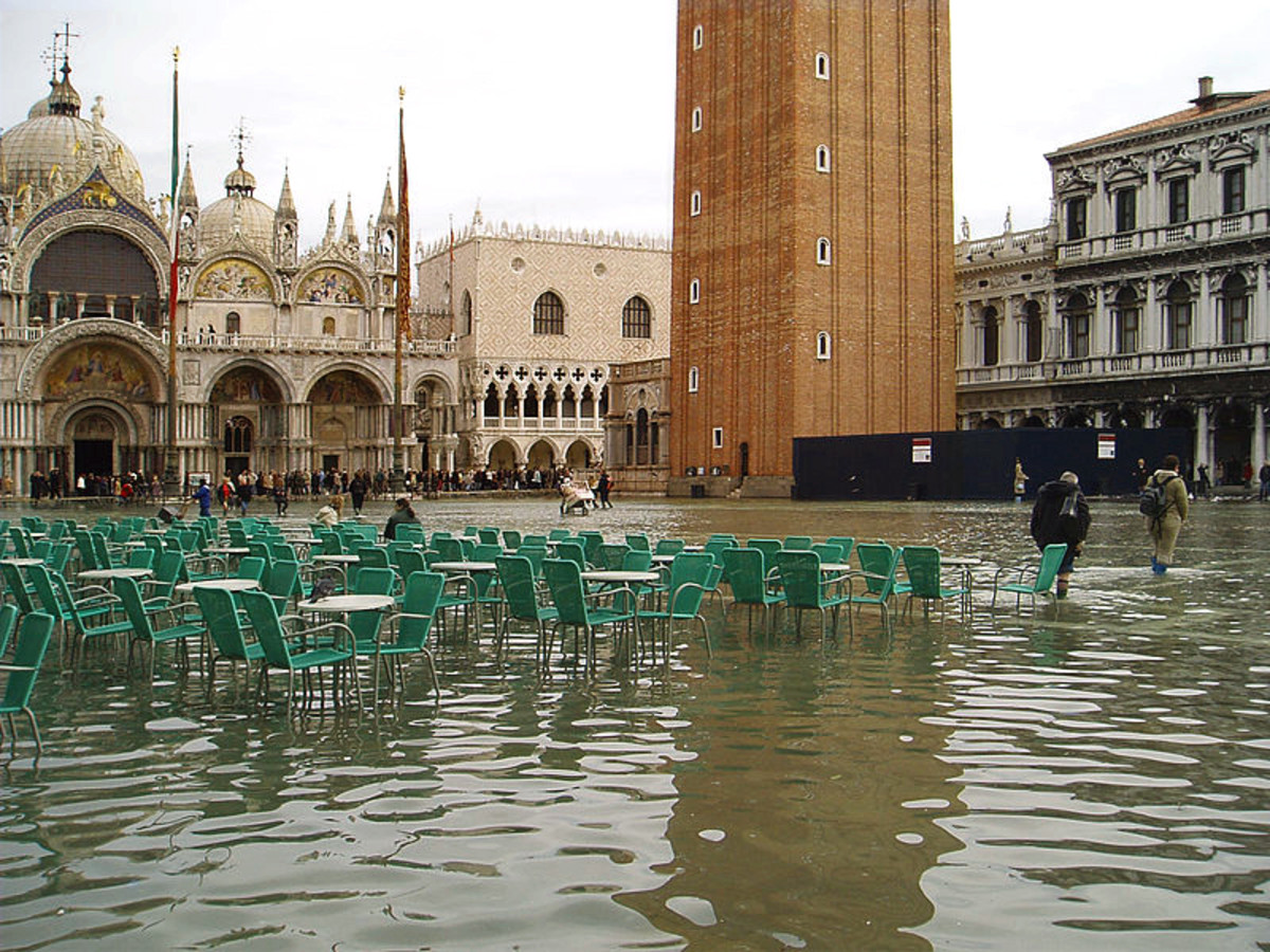 Flooded Saint Mark's Square - Acqua Alta in Piazza San Marco.