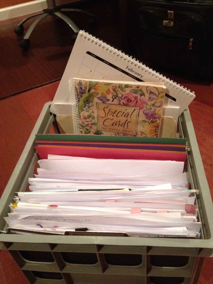Crates or baskets are mobile and can hold regularly used items such as calendars, student files, and forms.