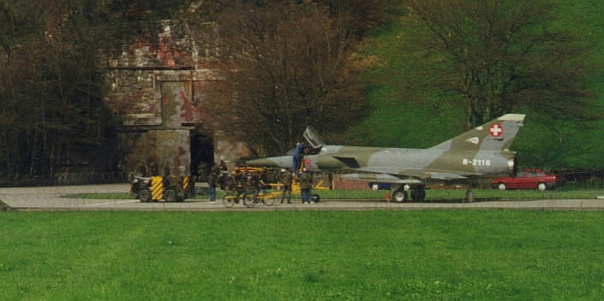 A Swiss Air Force Mirage III RS outside its mountain hanger.