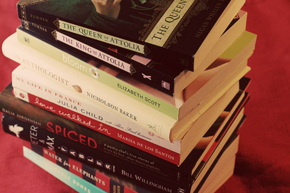 Big ol' stack of books.