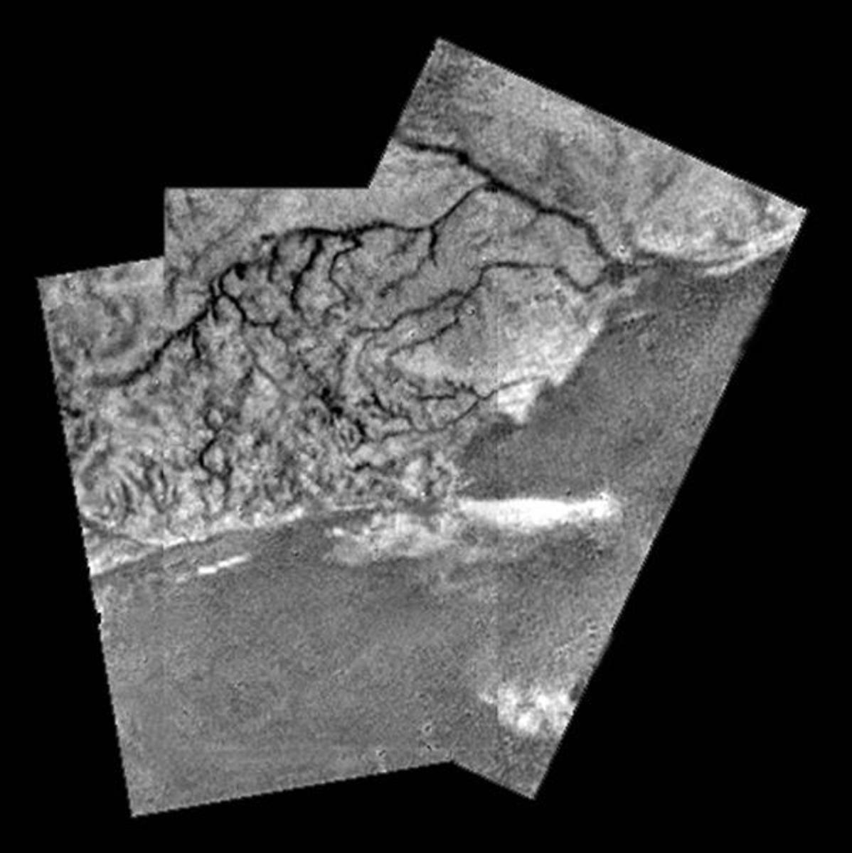 River channels on Titan, and lowlands... are those dunes, or a lake? The amazing thing about Titan is that once you penetrate the clouds with radar (here) or infrared, it looks far more Earthlike than Mars.