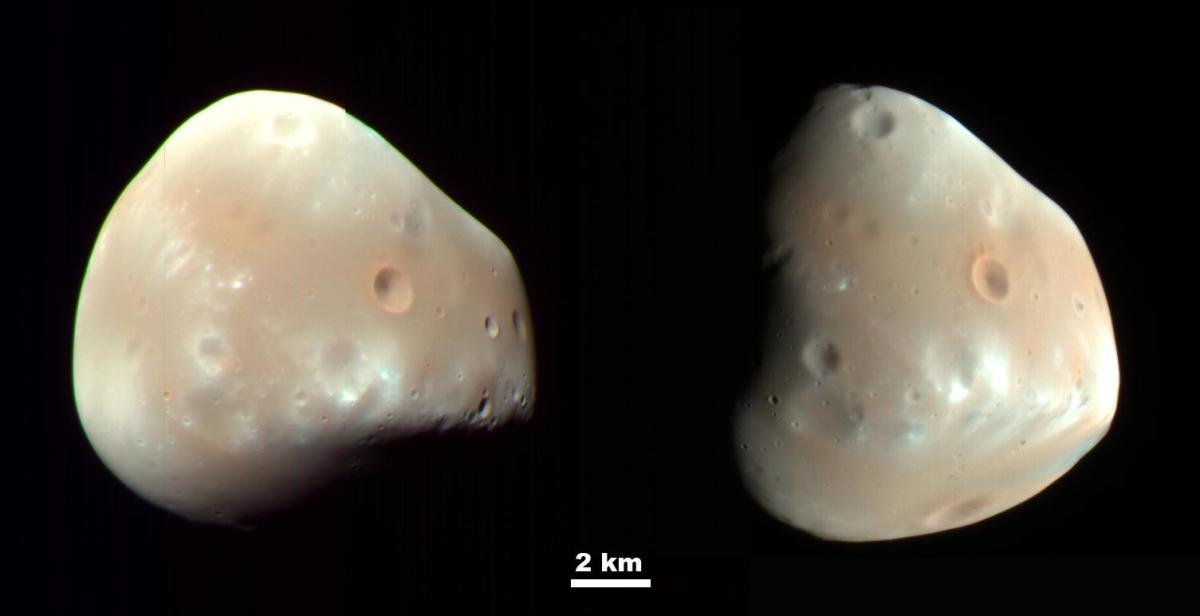 "Deimos is about 6-10 miles across (it's very irregular). Mars will eventually lose this moon, too: it's spiraling away. Phobos and Deimos are named after the sons of Mars in Greek and Roman mythology; their names mean ""fear"" and ""panic."""