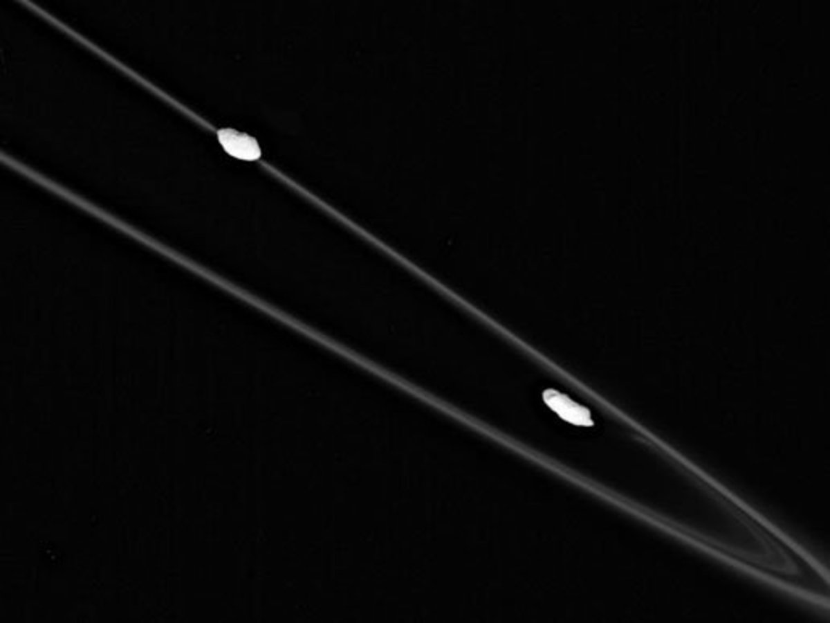 "Shepherd moons Prometheus (right, inside ring) and Pandora (left, outside ring) keep many of Saturn's rings in line. Or in this case, kinky. I remember when Voyager first discovered this ring, the F ring, whose ""braided"" shape puzzled scientists."