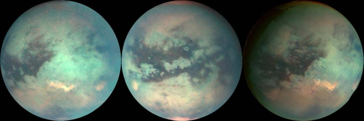 False-color images taken in visible and infrared over the last several years show that Titan changes with the seasons: the poles develop brown caps, and huge dark lakes of methane fill at the tropics from monsoon rains. Light spots may be volcanic.