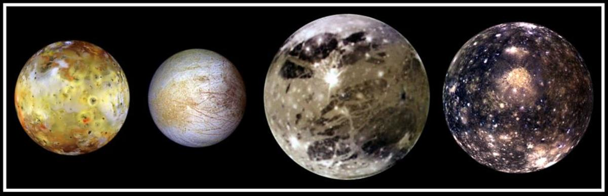 "Family portrait of Jupiter's four largest moons, the ""Galilean"" moons: Io, Europa, Ganymede, Callisto. Click link below for detailed info about each moon:"