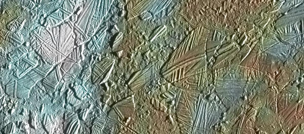 Icebergs of Europa. Tidal forces of Jupiter and other moons tugging on Europa causes flexing and cracking. Sometimes, icebergs shift and rotate, riding on slush that oozes to the surface.