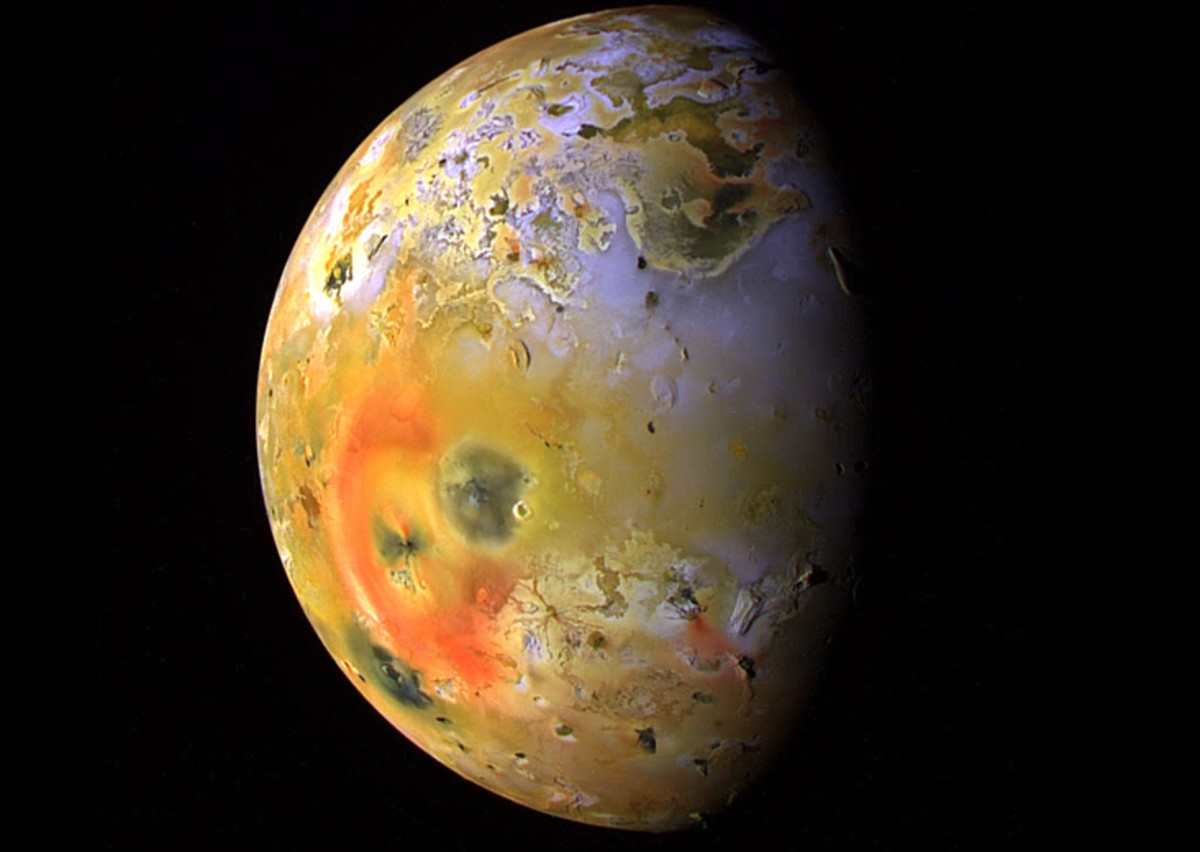 What's cooking? Those big blotches are different kinds of sulfur lava flows from Io's many volcanoes. Io resurfaces itself continually; every few months scientists will see something different.