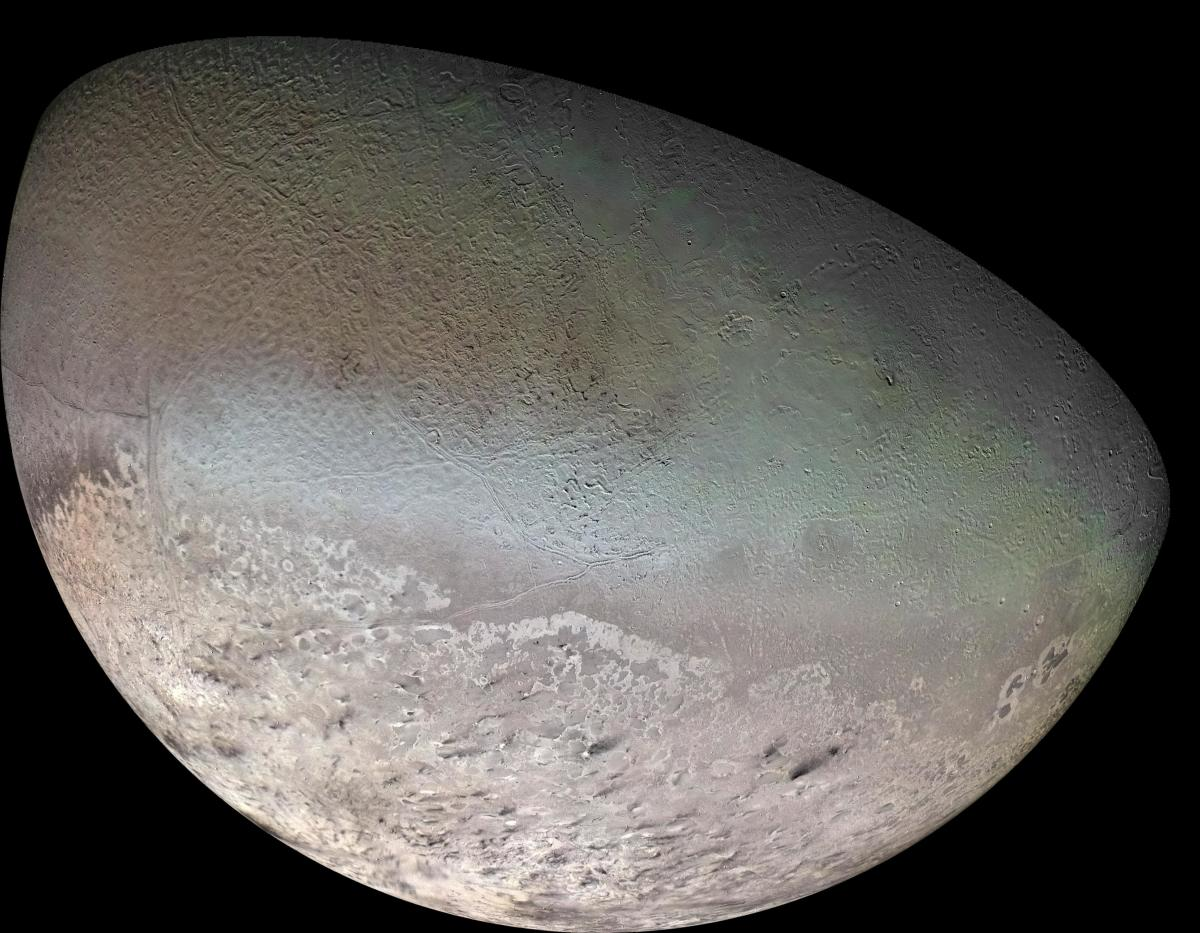 "The southern half of Neptune's moon Triton: a world in deep-freeze with ""cryovolcanoes"" and features that still puzzle scientists."