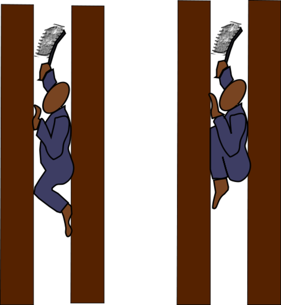 The left chimney sweep is in the correct position. The right chimney sweep has slipped, and is jammed in the chimney. He cannot breathe well or free himself, so a rope is tied to his leg by another child. It's pulled until he's free or dead.