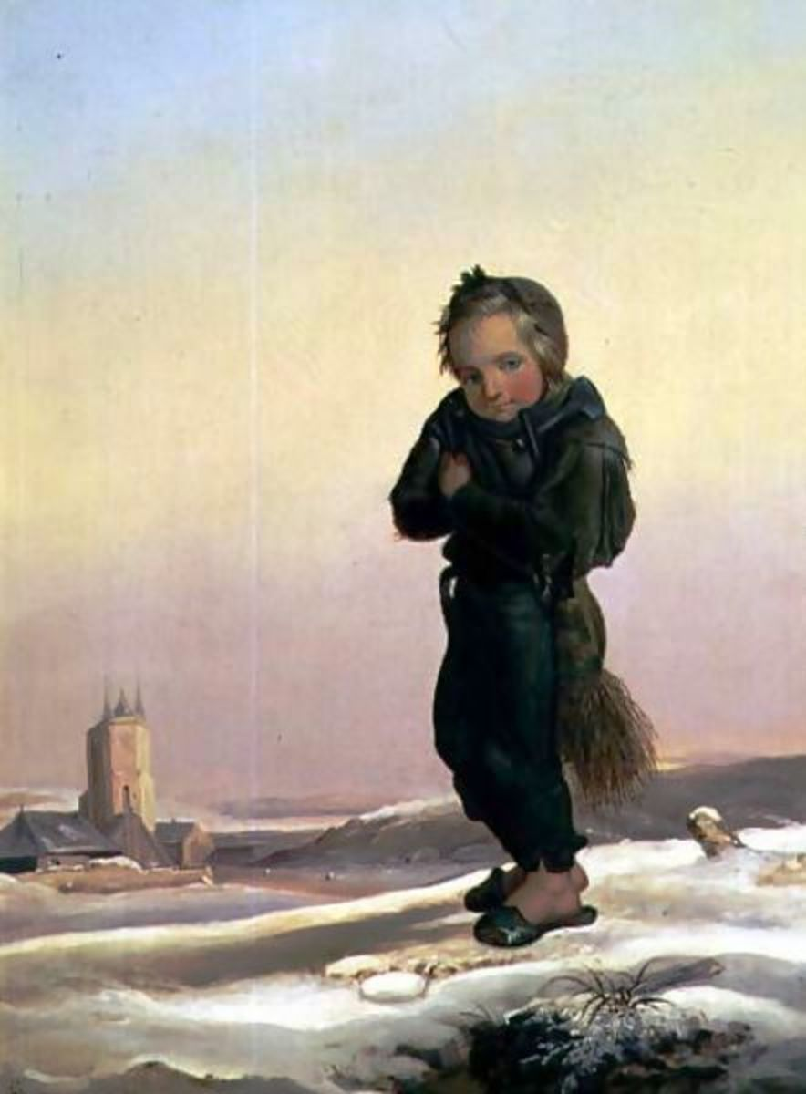 A French chimney sweep apprentice in the snow with no winter clothes. He's wearing slippers because they were easier for the children to get on and off before and after they climbed.