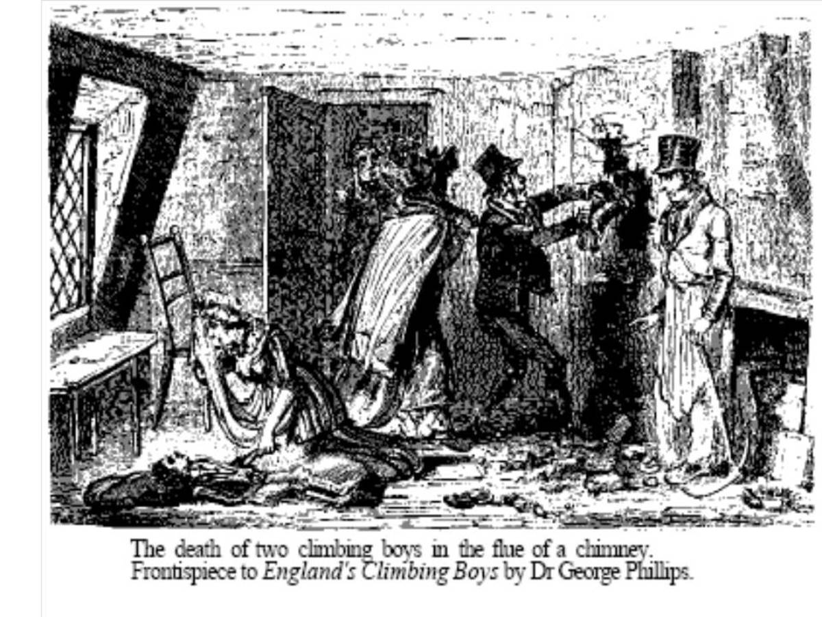 True event. One boy suffocated and another was sent to tie a rope to his leg. He died, too. Their bodies were retrieved by breaking through the wall. Old illustration by Cruikshank in 1947 book by Phillips.