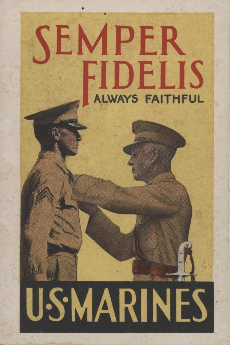 USMC Recruiting posters have long displayed the swords or sabers as a symbol of the Marine Corps.