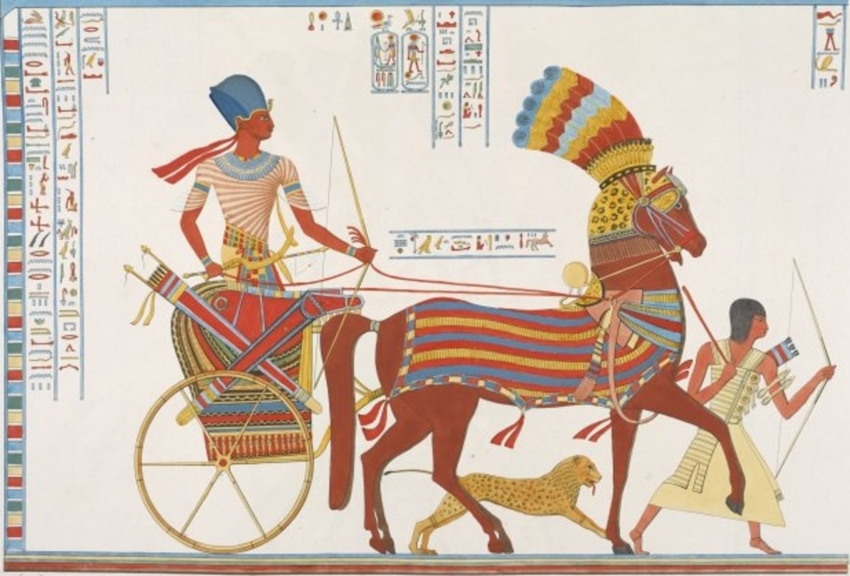 Egyptian chariot, accompanied by a cheetah and slave