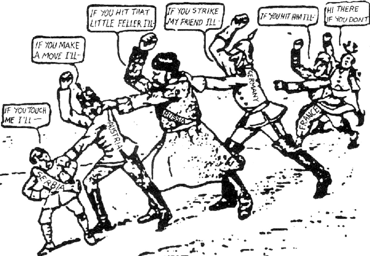 """A comic depicting the web of alliances of WWI published in the American newspaper the Brooklyn Eagle in July 1914. The caption reads: """"If Austria attacks Serbia, Russia will fall upon Austria, Germany upon Russia, and France and England upon Germany."""