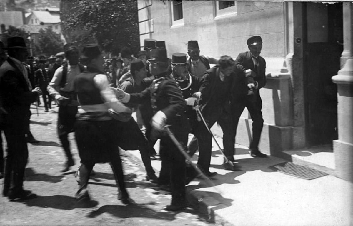 The arrest of Gavrilo Princip. 28 June 1914.