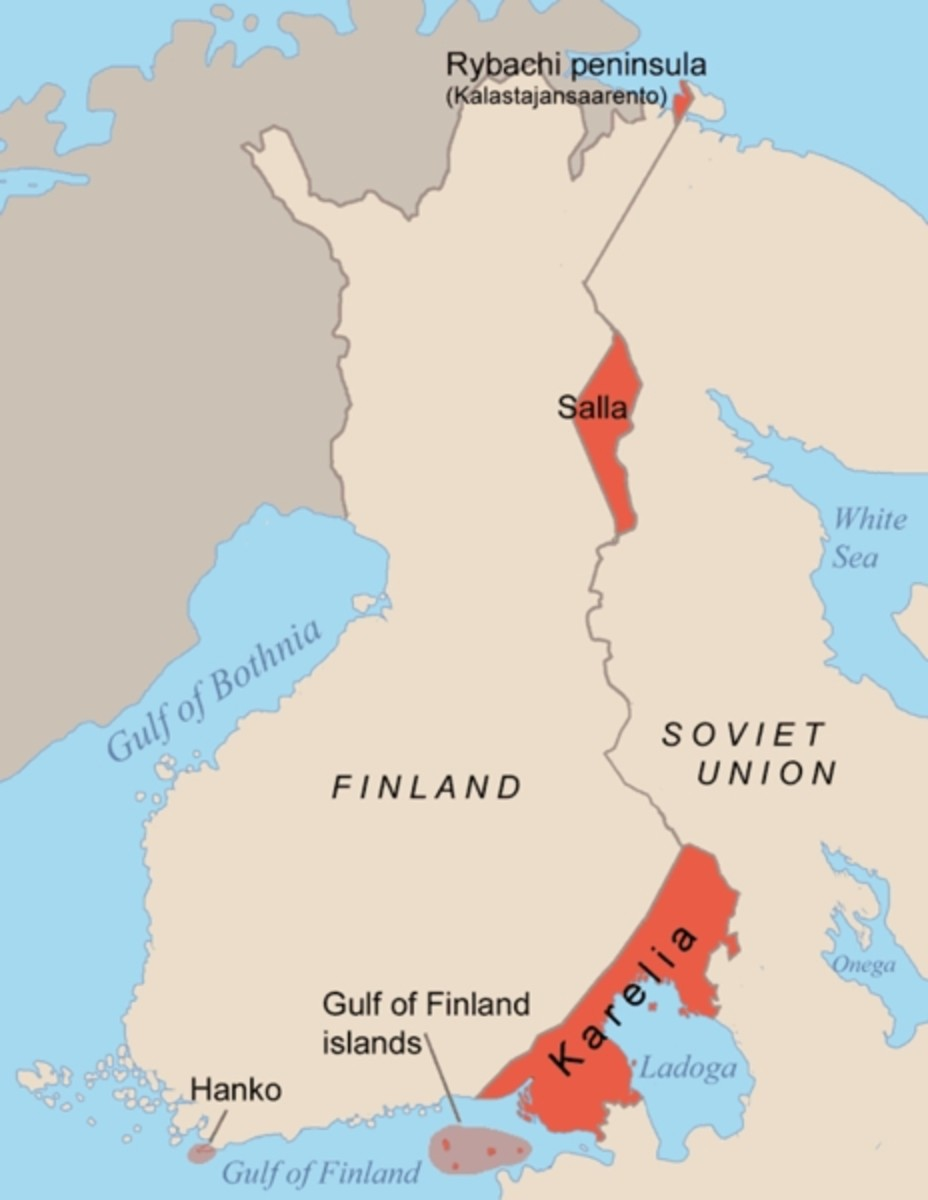 WWII: Map of the areas ceded by Finland to the Soviet Union after the Winter War 1940.