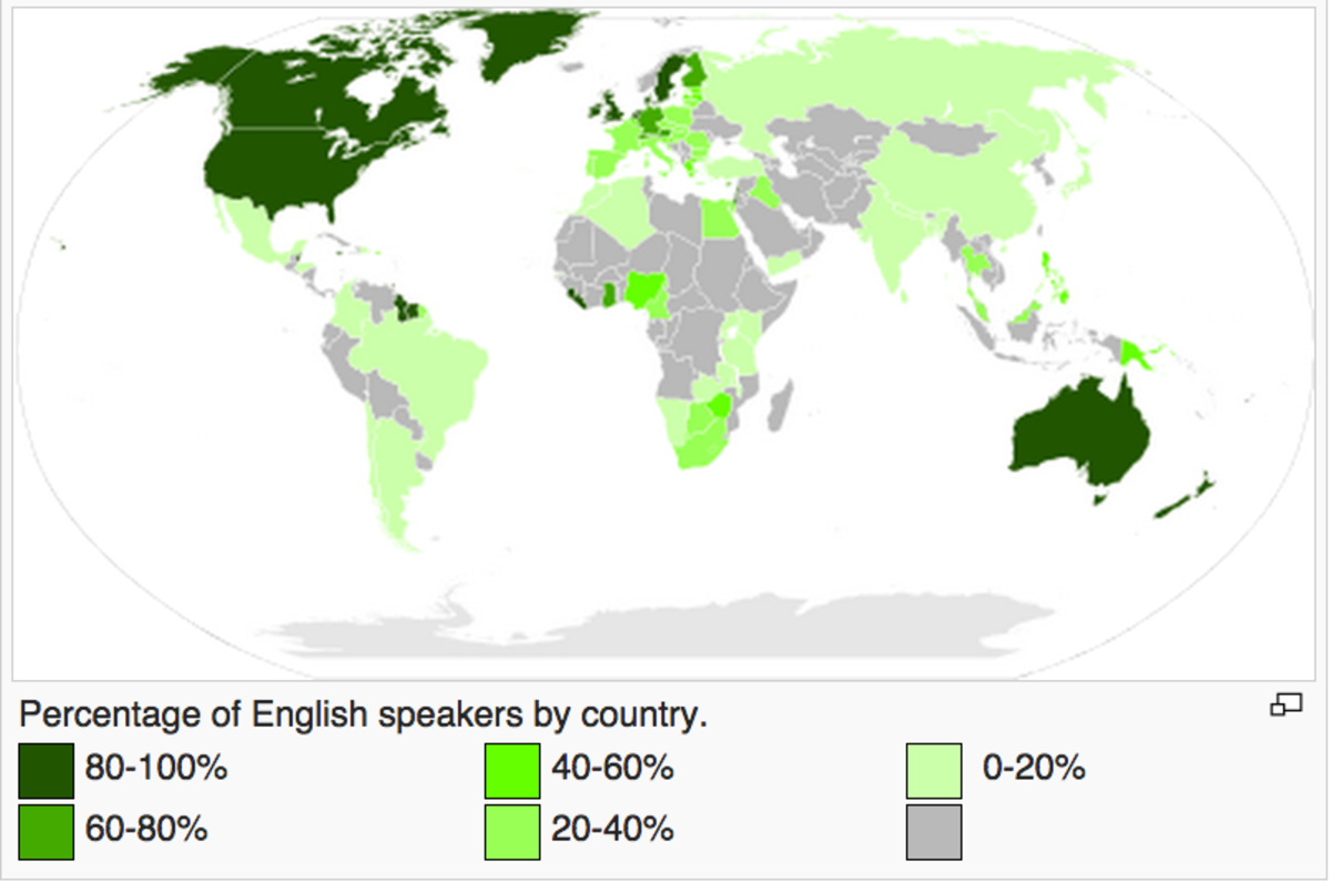 This map shows the percentage of English speakers in different countries.