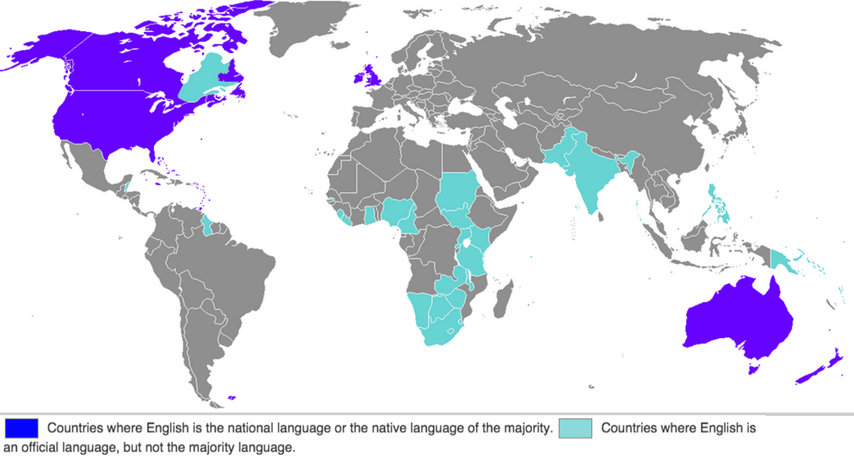 Map of countries where English is either the national language or an official language.