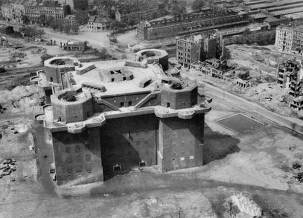 WW2 Flak tower (first generation combat tower) in Hamburg with four twin 128 mm. It measures 75 by 75 m, with a height of 39 m.