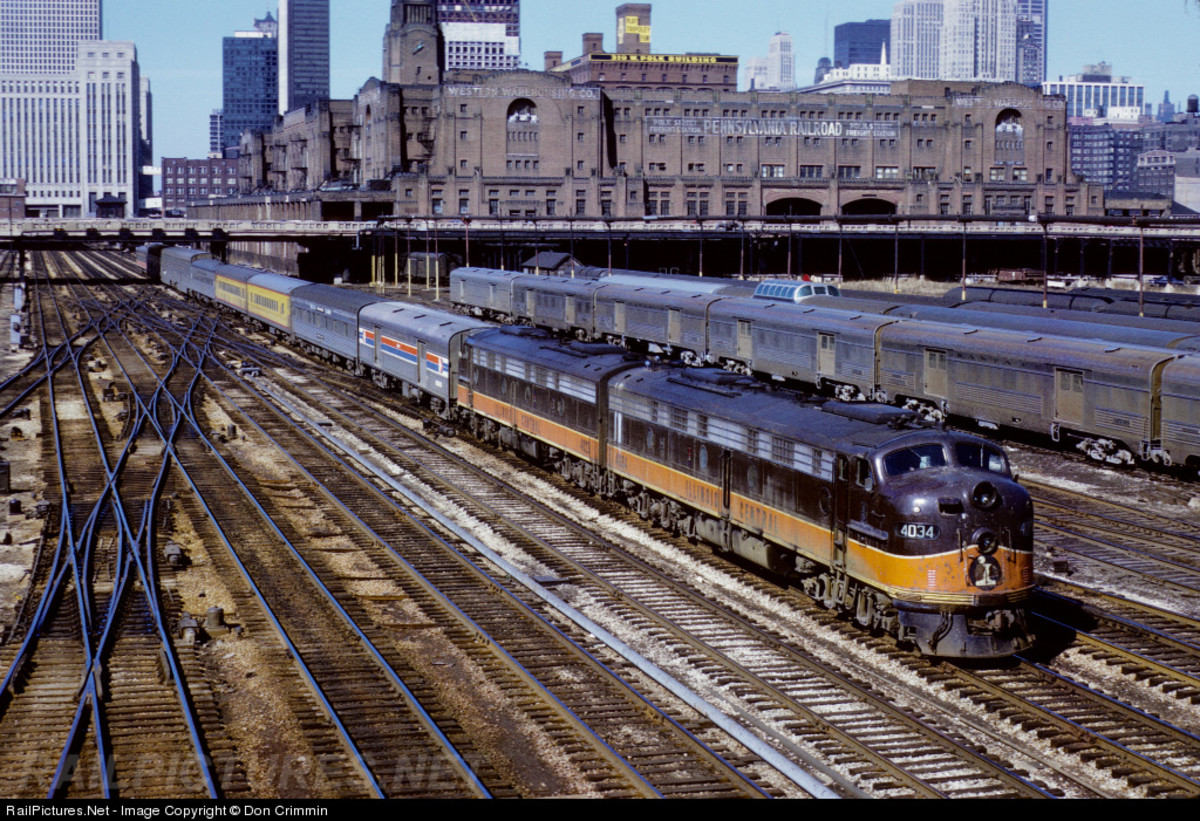 View of aging Pennsylvania Railroad Freight Terminal, seen from Roosevelt Road overpass on March 25, 1972.