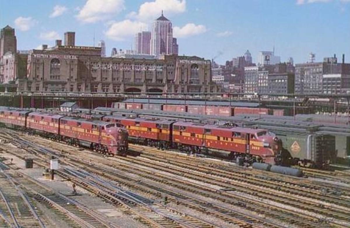 Pennsylvania Railroad Freight House against the skyline, circa 1960.