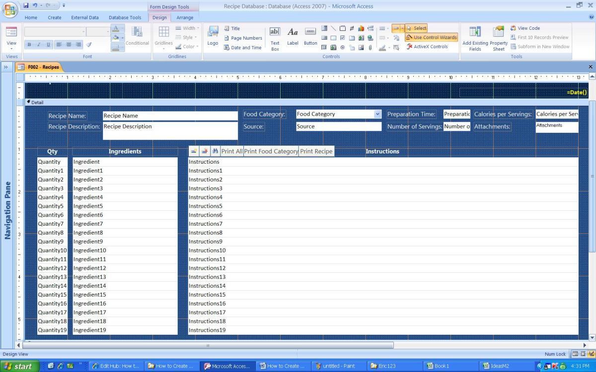 Screenshot of my form layout