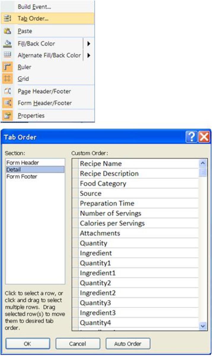 Tab Order Screenshot