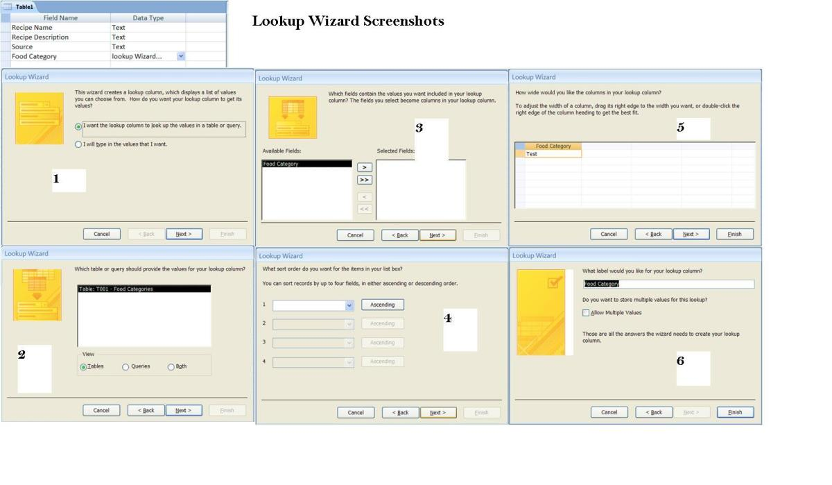 Lookup Wizard (Table - Design view)