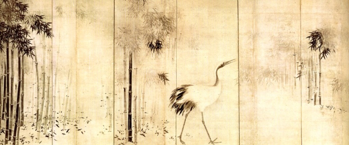A door panel by Japanese artist Hasegawa Tohaku (1539-1610) featuring a crane in a grove of bamboo. Tohaku was famous for his Chinese-style door panel paintings, which often featured animals (especially monkeys) in a thicket of bamboo.