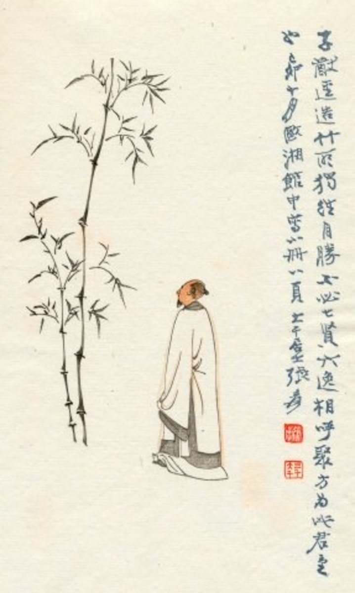 Painting by an unknown artist of a Chinese sage contemplating bamboo.