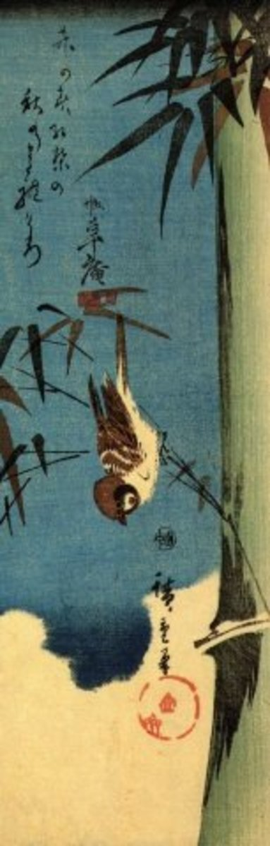 """Sparrow and Bamboo"" by Ando Hiroshige (1797-1858). This print also features the sparrow, which represents happiness and is another common motif in Japanese art."