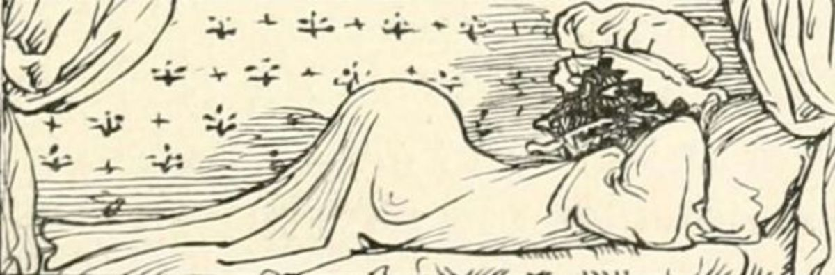 In this drawing by Walter Crane, the wolf really resembles a pregnant lady ... source: archive.org, PD licence