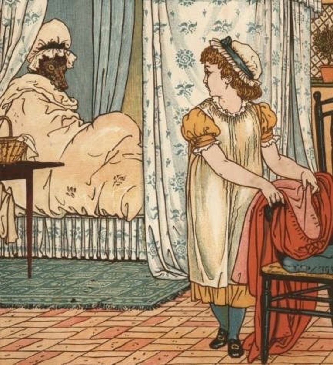 In This Illustration by Walter Crane Little Red Riding Hood Flirts With the Big Bad Wolf...source: Wikipedia.org, PD licence