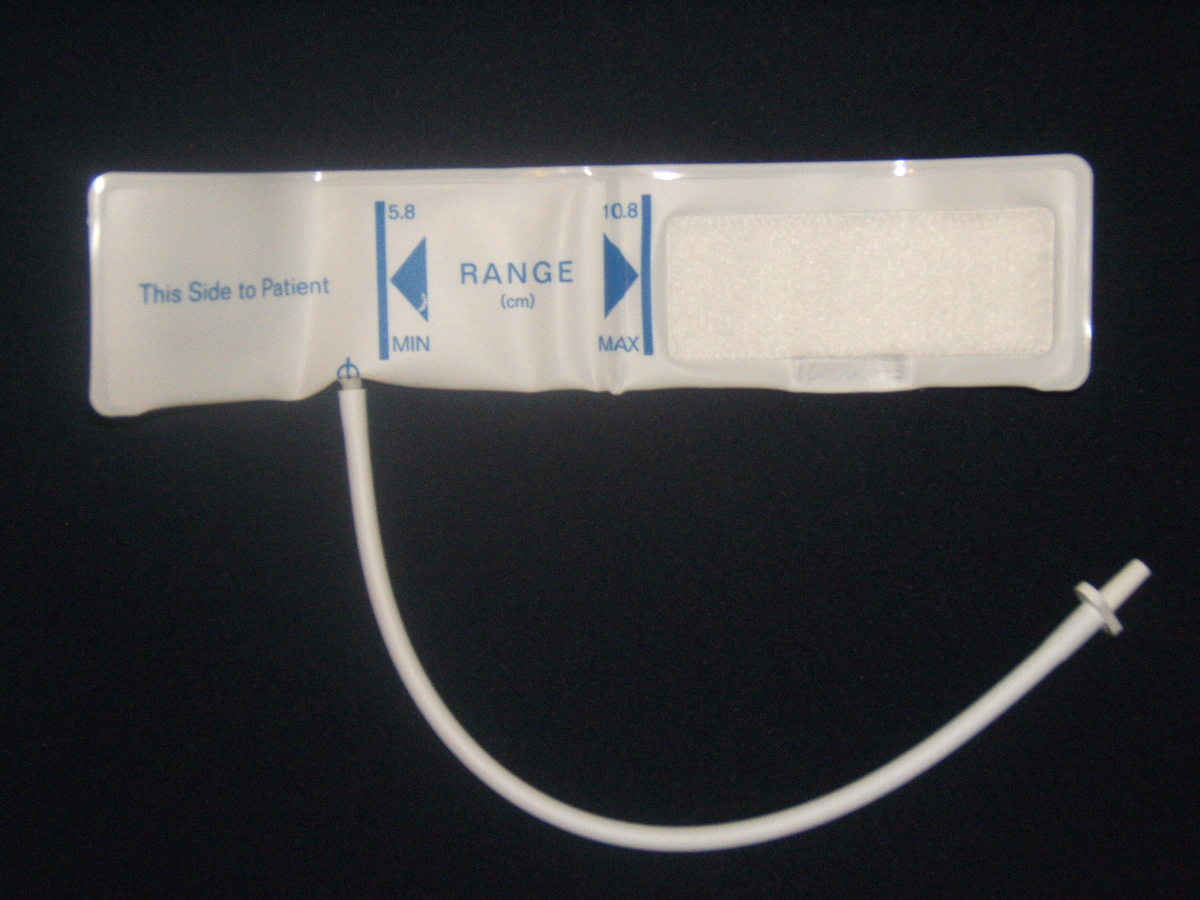 Blood pressure cuff that connects to an automated measurement device and monitor.