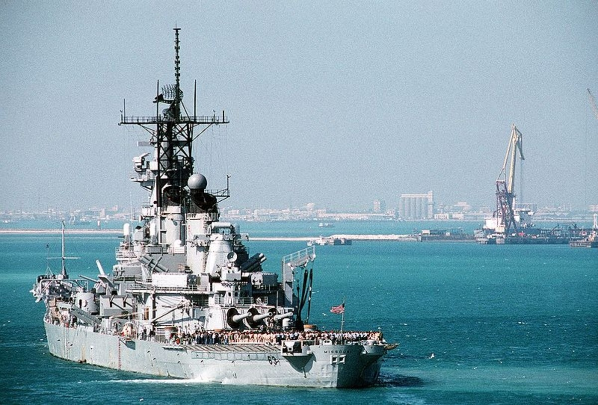The battleship USS MISSOURI (BB-63) lies at anchor in a Persian Gulf region port during Operation Desert Storm. 1 Feb 1991