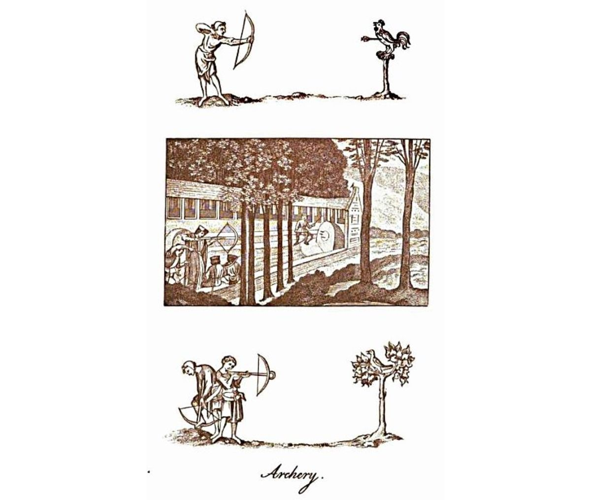 "Panels depicting Archery in England from Joseph Strutt's 1801 book, ""The sports and pastimes of the people of England from the earliest period""."