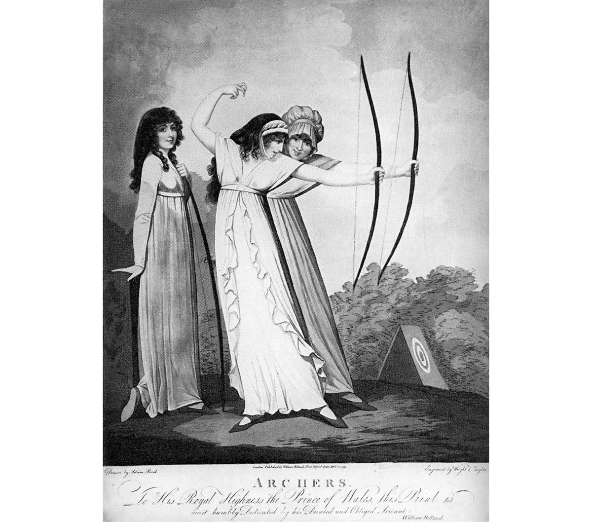 Engraved from a drawing by Adam Buck.  Archery was one of the few sports acceptable for genteel women at the time.