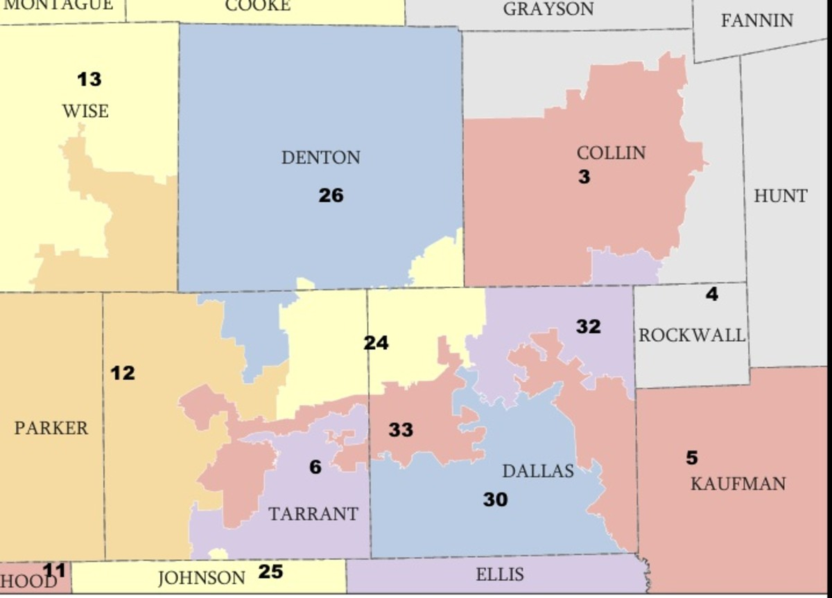 Dallas/Fort Worth area of Texas.  As stated in the text, the districts for the state of Texas have not yet been drawn for 2012 because the U.S. Supreme Court has not yet ruled.  Note the odd shapes of the districts as they have been up until now.
