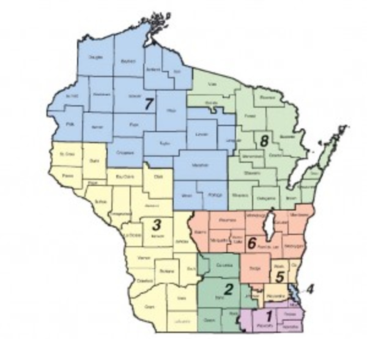 Wisconsin District Map.  Compared to some states this one is pretty ordinary.