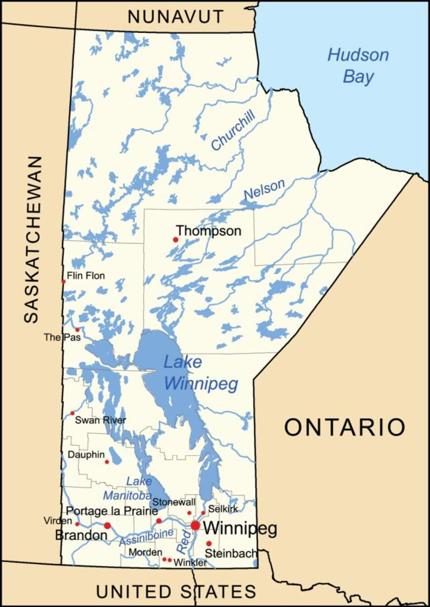 This is a general map of the province of Manitoba, Canada with its capital city Winnipeg.